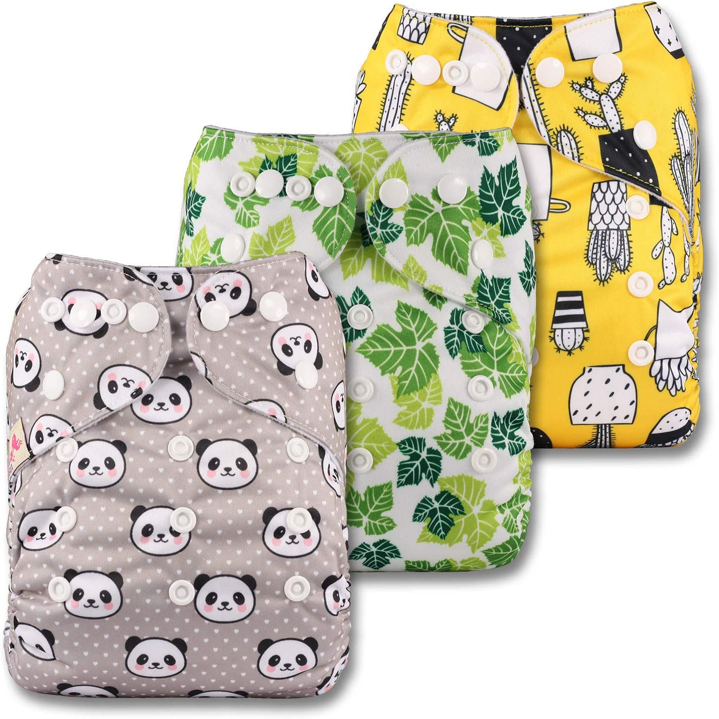 Littles /& Bloomz with 6 Bamboo Charcoal Inserts Patterns 308 Set of 3 Reusable Pocket Cloth Nappy Fastener: Popper