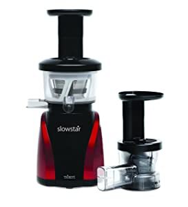 Tribest Slowstar Vertical Slow Juicer and Mincer SW-2000, Cold Press Masticating Juice Extractor in Red and Black, Certified Refurbished