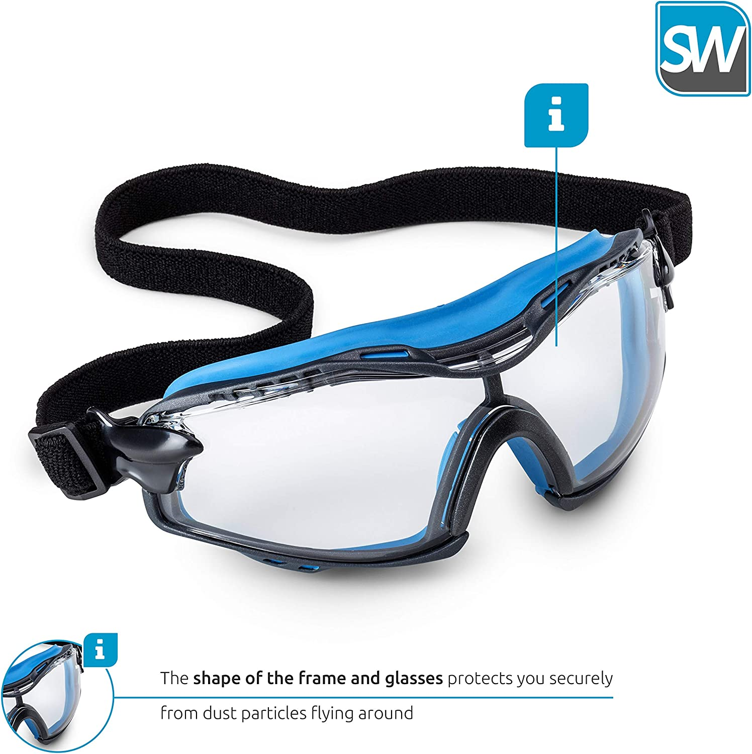 Clear Lens For Men /& Women Blue Eye Protective Safety Glasses for Construction Work SolidWork Safety Goggles with Universal Fit Scratch Resistant Goggle with UV-Protection and Anti-Fog