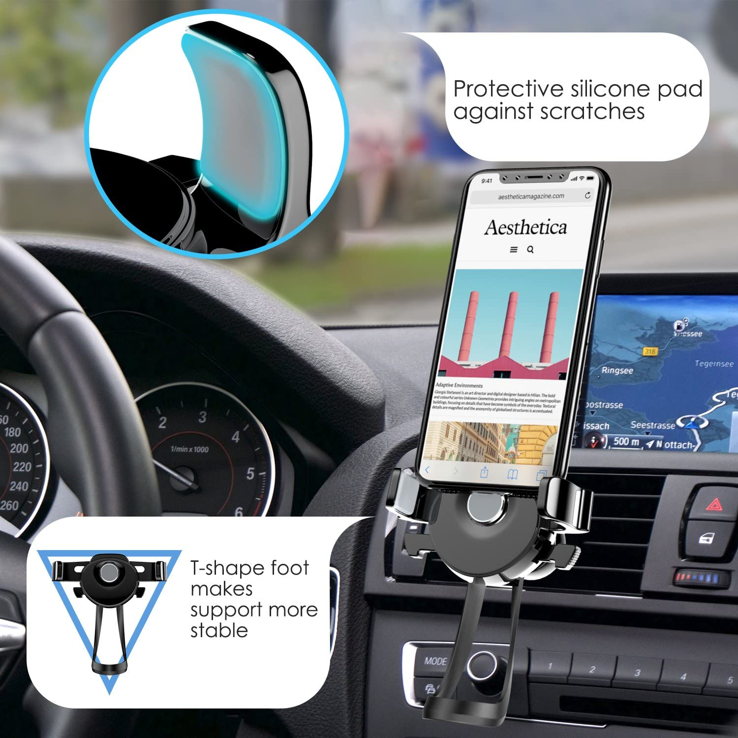 Compatible for iPhone Xs//Xs Max//XR//X//8//8 Plus Black 360 Degree Rotatable T-Shaped Secure Durable Phone Car Mount Holder for 4.5-7 Phone MoKo Cellphone Airvent Car Mount Galaxy S10+//S10// S10e