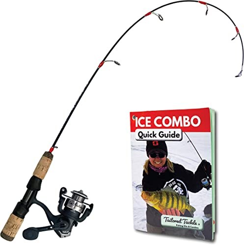 Tailored Tackle Ice Fishing Rod Reel Combo 28 in. Medium Light Fast Action Multi-Species Ice Fishing Pole Walleye Perch Panfish Bluegill Crappie