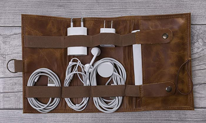 87ba1b8564e0 Amazon.com: Tan Color Leather Cable Organizer, Cord Organizer, Cable  Organizer, Leather Cable Holder, Personalized Handmade Leather Cord Wrap  with Pocket: ...