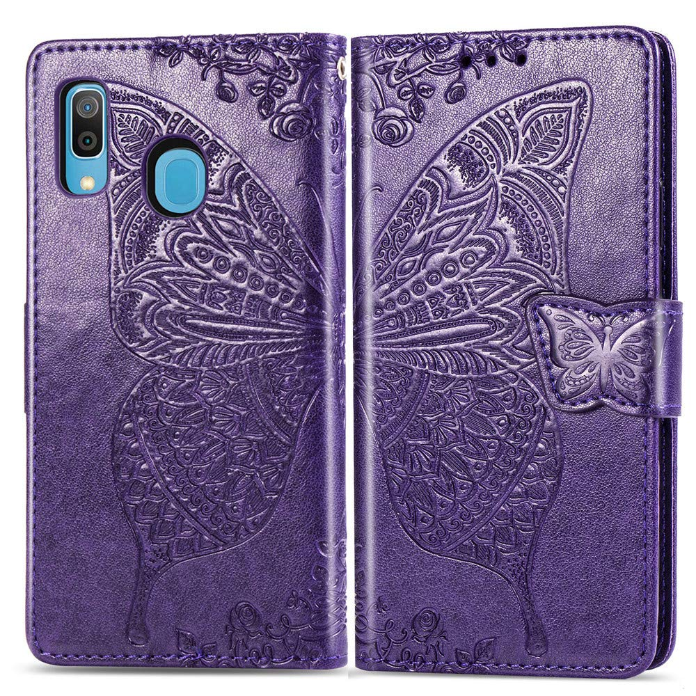 A20 Butterfly Wing Pink XD ISADENSER Galaxy A30 Case Galaxy A20 Case Elegant Embossing Totem Butterfly Wing PU Leather Flip Wallet Bookstyle Magnetic Card Slot Stand Cover for Samsung Galaxy A30