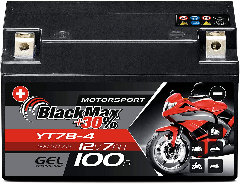 Blackmax Yt7 B4 Motorradbatterie Gel 12v 7ah Yt7b 4 Yt7b Bs Batterie Ft7b4 Gt7b4 Auto