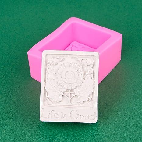Soap, Muffin fabrication de savon et gla/çons cr/èmes g/âteaux Savon forme forme fleur 3D Life is good d/écoration Couleur: Rose M/èche Candle forme bougie funzel Pl/âtre aussi pour MOUSE