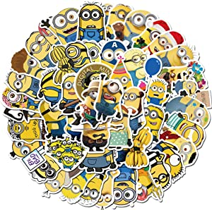 Minions Sticker 50 Pcs Waterproof, Removable,Cute,Beautiful,Stylish Teen Stickers, Suitable for Boys and Girls in Water Bottles, laptops, Phones,Guitar, Suitcase Durable Vinyl