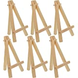 """U.S. Art Supply 8"""" High Small Natural Wood Display Easel (Pack of 6), A-Frame Artist Painting Party Tripod Mini Easel…"""