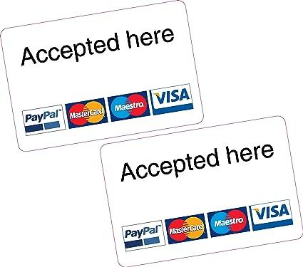 2 x aceptado aquí paypal Mastercard Maestro Visa lector de ...