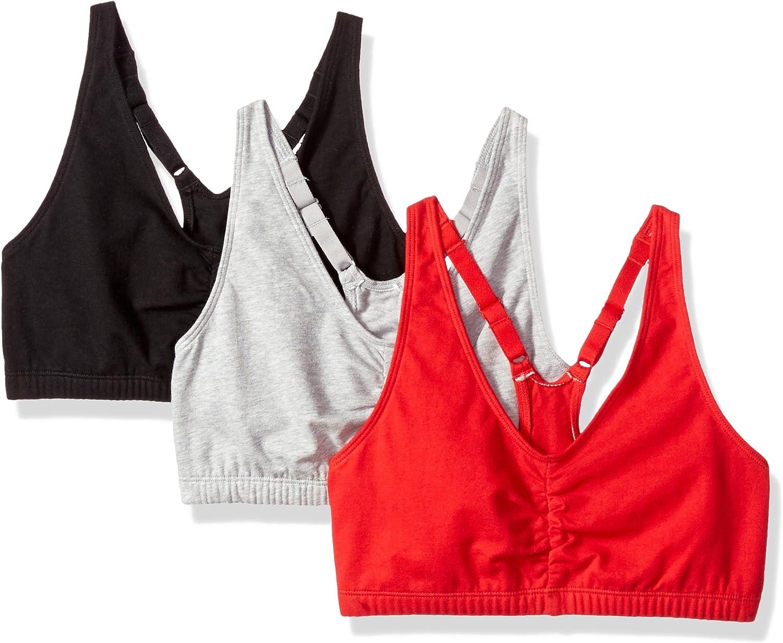 Fruit of the Loom Women's Adjustable Shirred Front Racerback Bra (Pack of 3)