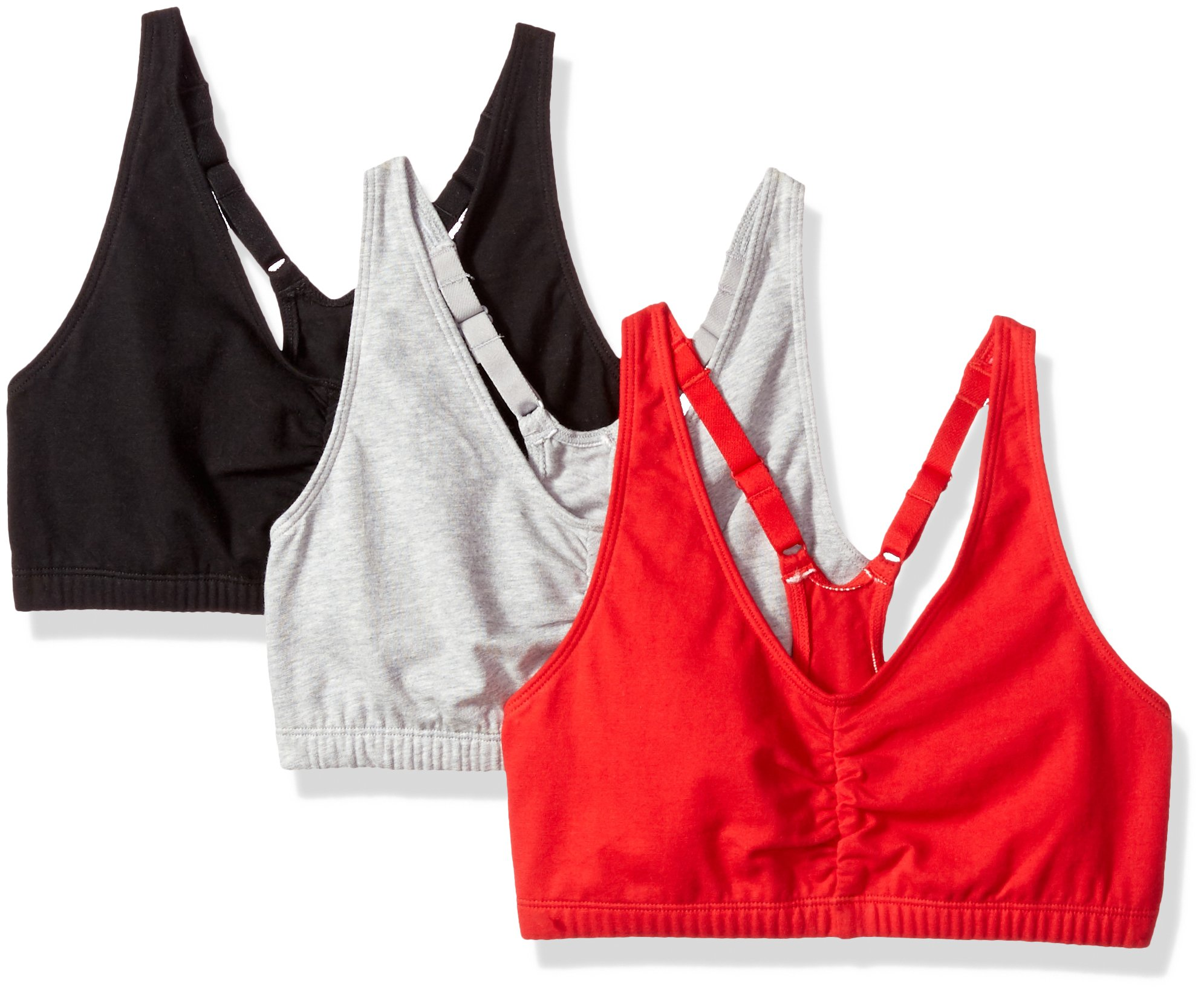 Fruit of the Loom Women's Adjustable Shirred Front Racerback Bra, red hot/Black/Heather Grey - 3 Pack, 42