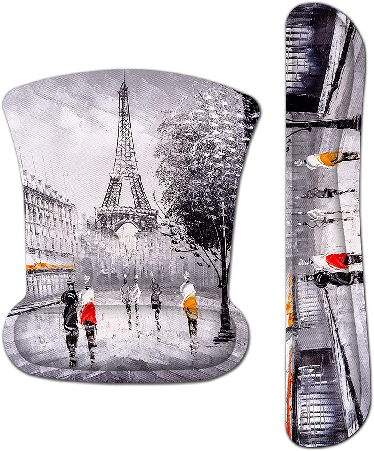Mouse Pad with Wrist Support and Keyboard Wrist Rest Pad Set,Ergonomic Mouse Pads for Computers Laptop,Non-Slip Comfortable Mousepad w/Raised Memory Foam for Easy Typing Pain Relief (Eiffel Tower)