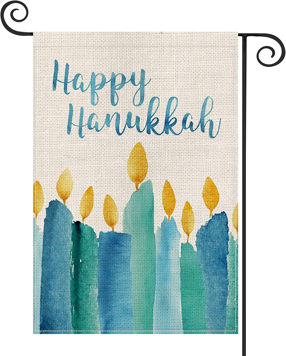 AVOIN Happy Hanukkah Watercolor Garden Flag Vertical Double Sized, Jewish Holiday Yard Outdoor Decoration 12.5 x 18 Inch