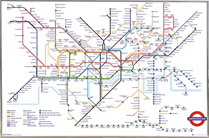Transport For London Map.Transport For London Underground Map Poster In A Silver Metal Frame 24x36 04133 Psa034314