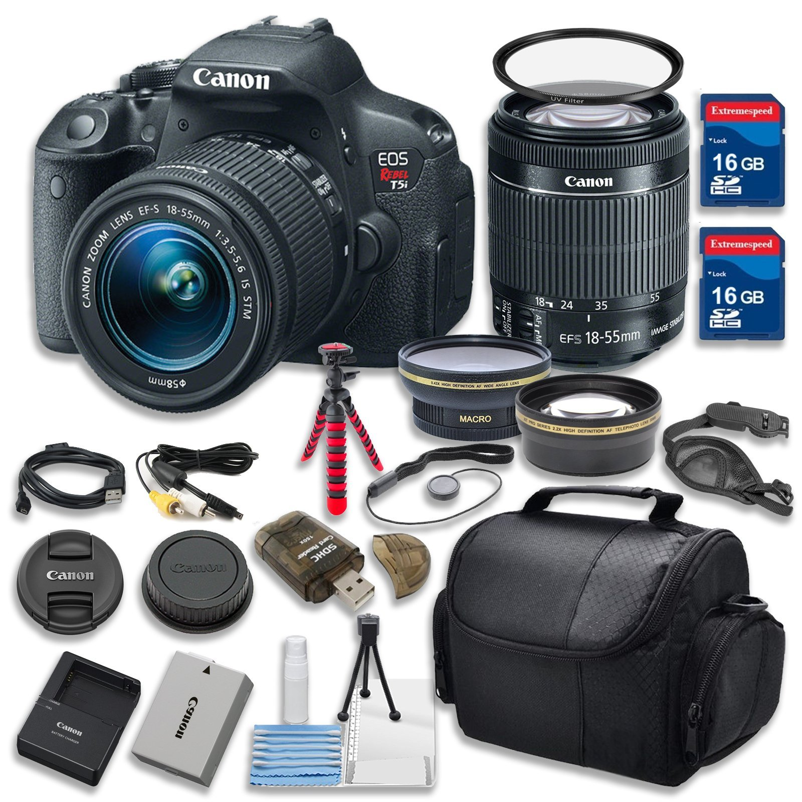 Canon EOS Rebel T5i 18.0 MP CMOS Digital Camera HD Video w/ EF-S 18-55mm f/3.5-5.6 IS STM Zoom Lens Celltime Exclusive Bundle w/ 14pc Accessory Kit - International Version