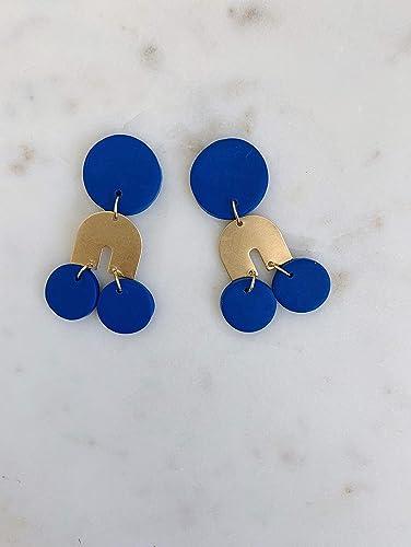 Geometric Pendant earrings Modern Polymer clay earrings Bohemian earrings Drop Round Drop Dangle earrings Green earrings Dangle