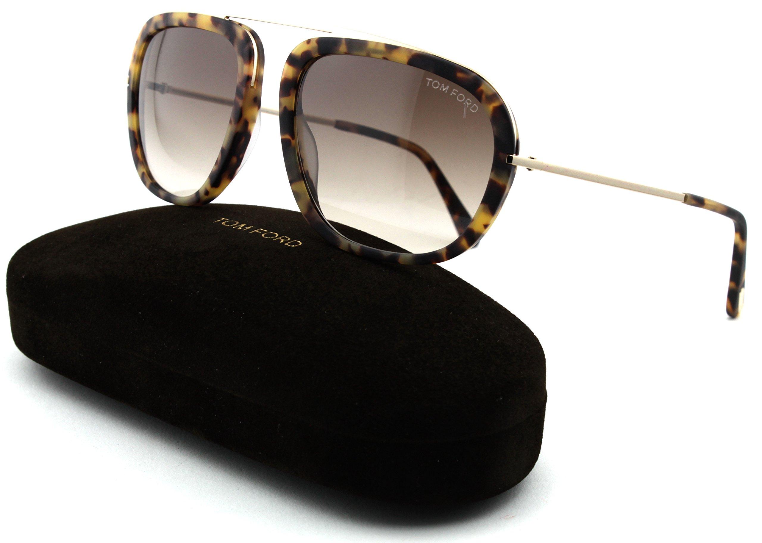 Tom Ford FT 0453 Johnson Unisex Metal Geometric Sunglasses (Blonde Havana Frame, Gradient Brown Lens 53F)