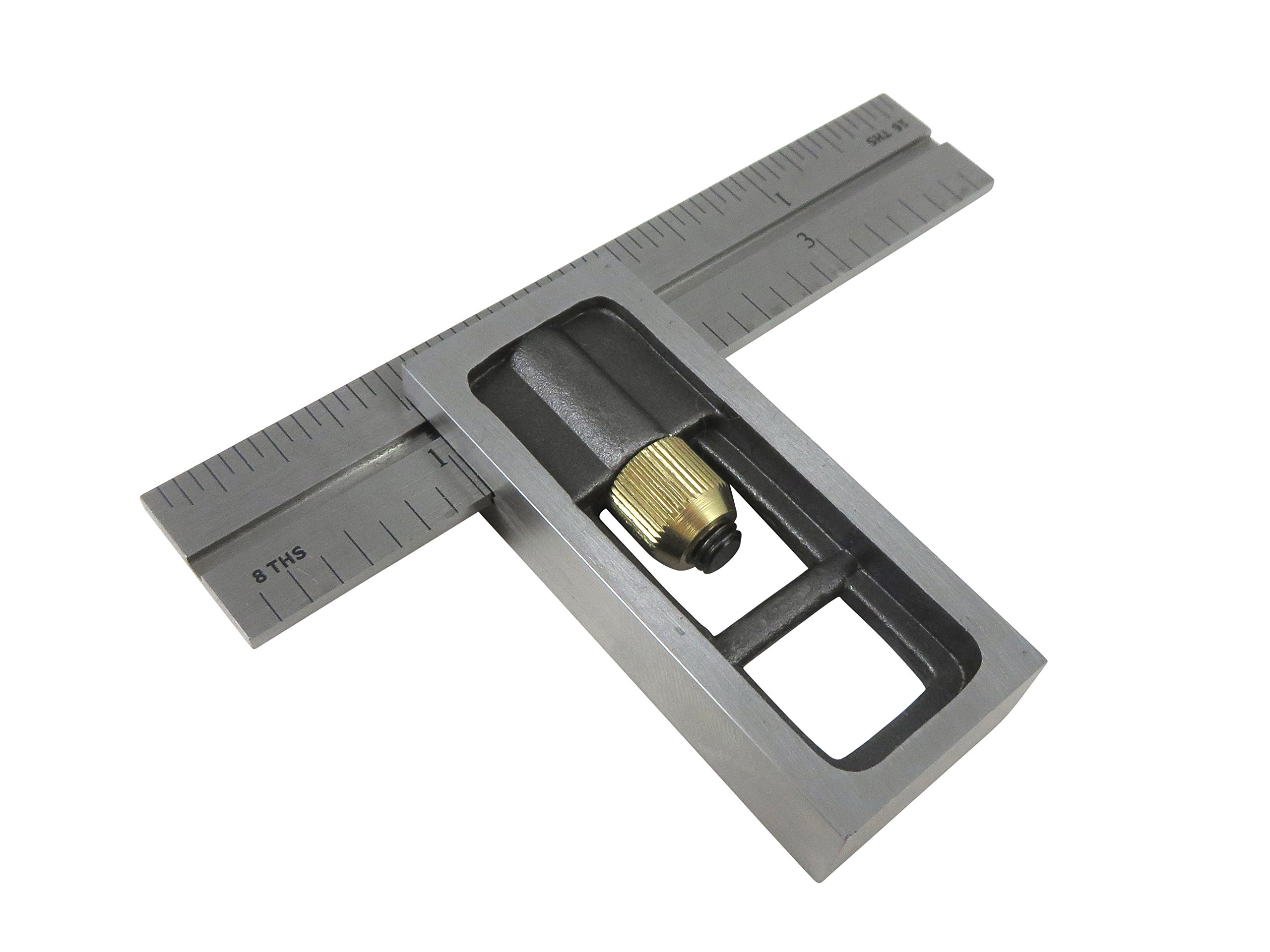 Taytools 469546 4'' Double Machinist Square with 4R markings 1/8, 1/16, 1/32. 1/64, Hardened Blade
