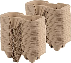 HAKZEON 100 PCS 2 Cup Pulp Fiber Drink Carrier, Biodegradable Drink Carrier Trays for Beverage Transportation, Great for Coffee Shops, Grocery Stores, Takeaway Restaurants, Drink Shops, Juice Bars and Pubs