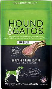 Hound & Gatos Natural Grain-Free Dry Dog Food, Grain-Free Cage Free Lamb, Made in the USA