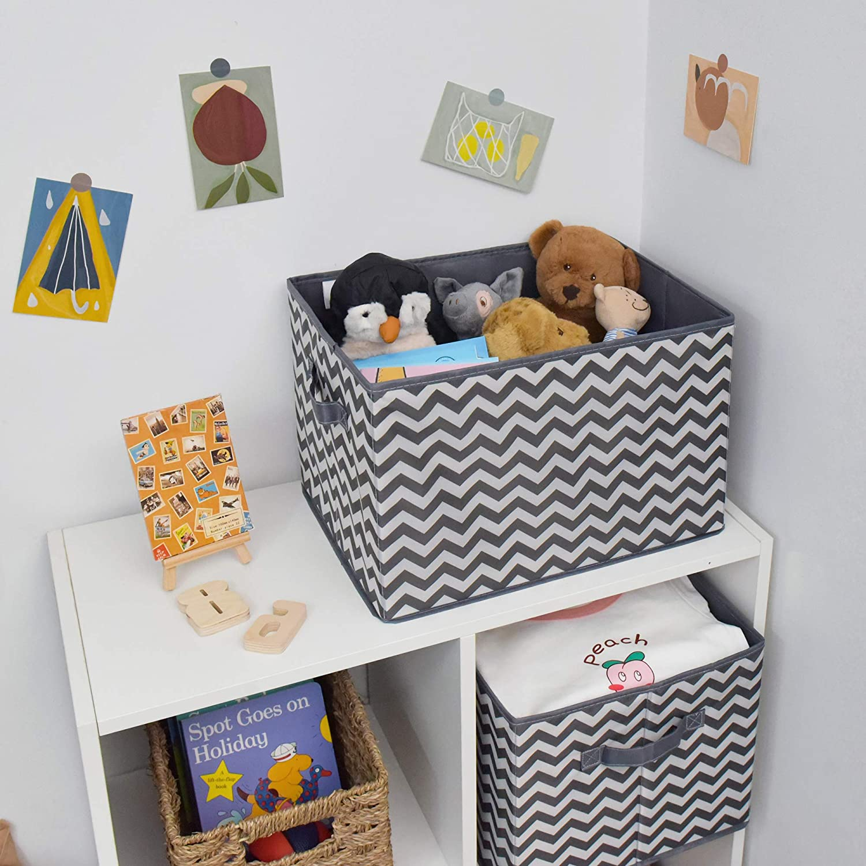 3-Pack Dark Gray and White Extra Large Nursery Storage Closet Organizer Baskets GRANNY SAYS Kid/'s Fabric Storage Bins for Shelves Toy Storage Boxes