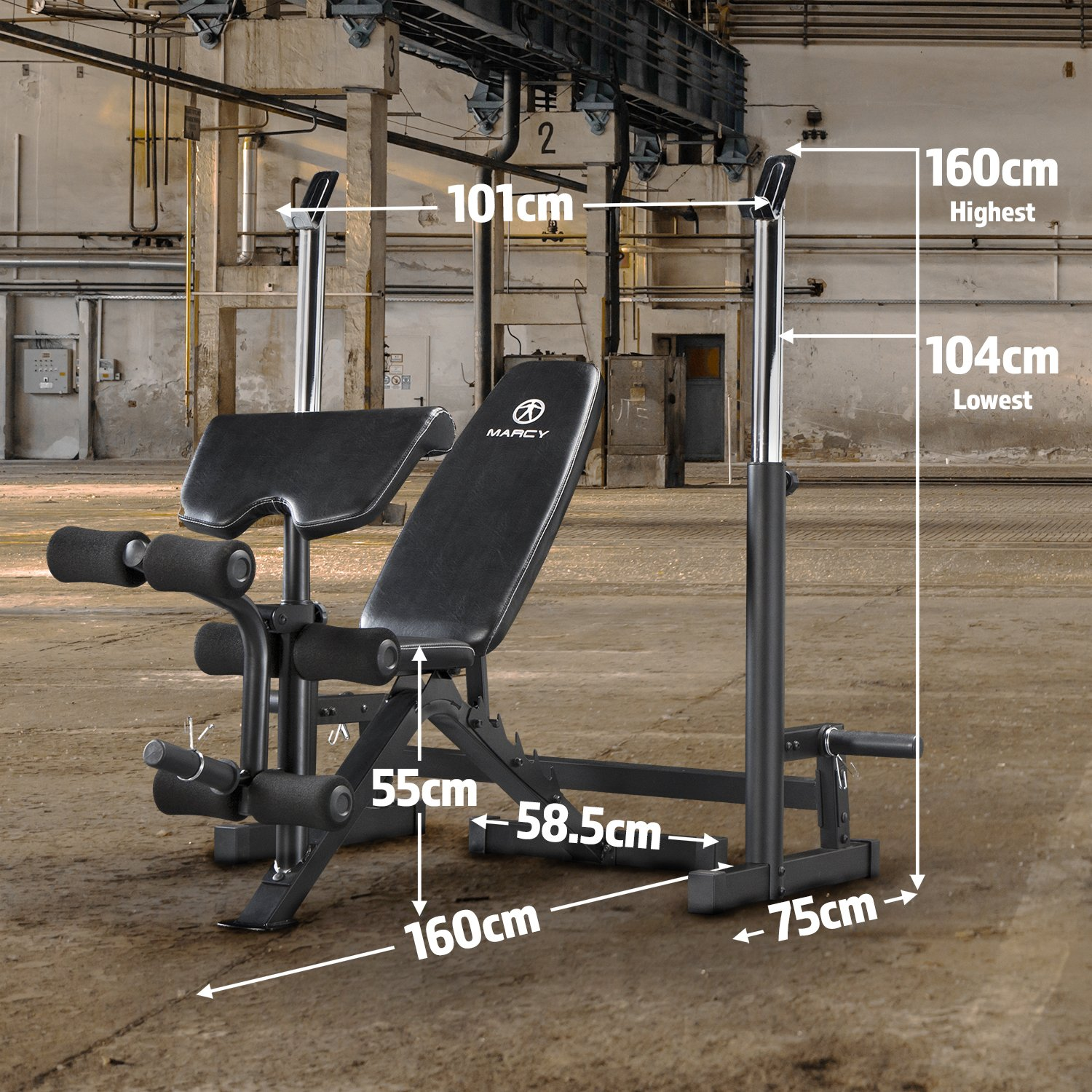Marcy Deluxe MWB-838 Olympic Weight Bench with Squat Rack One Size Black