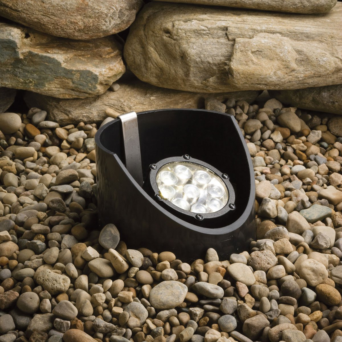 Kichler Lighting 15758BKT LED Well Light 9-Light Low Voltage 60 Degree Wide Spread Light, Textured Black with Clear Tempered Glass Lens by Kichler Lighting