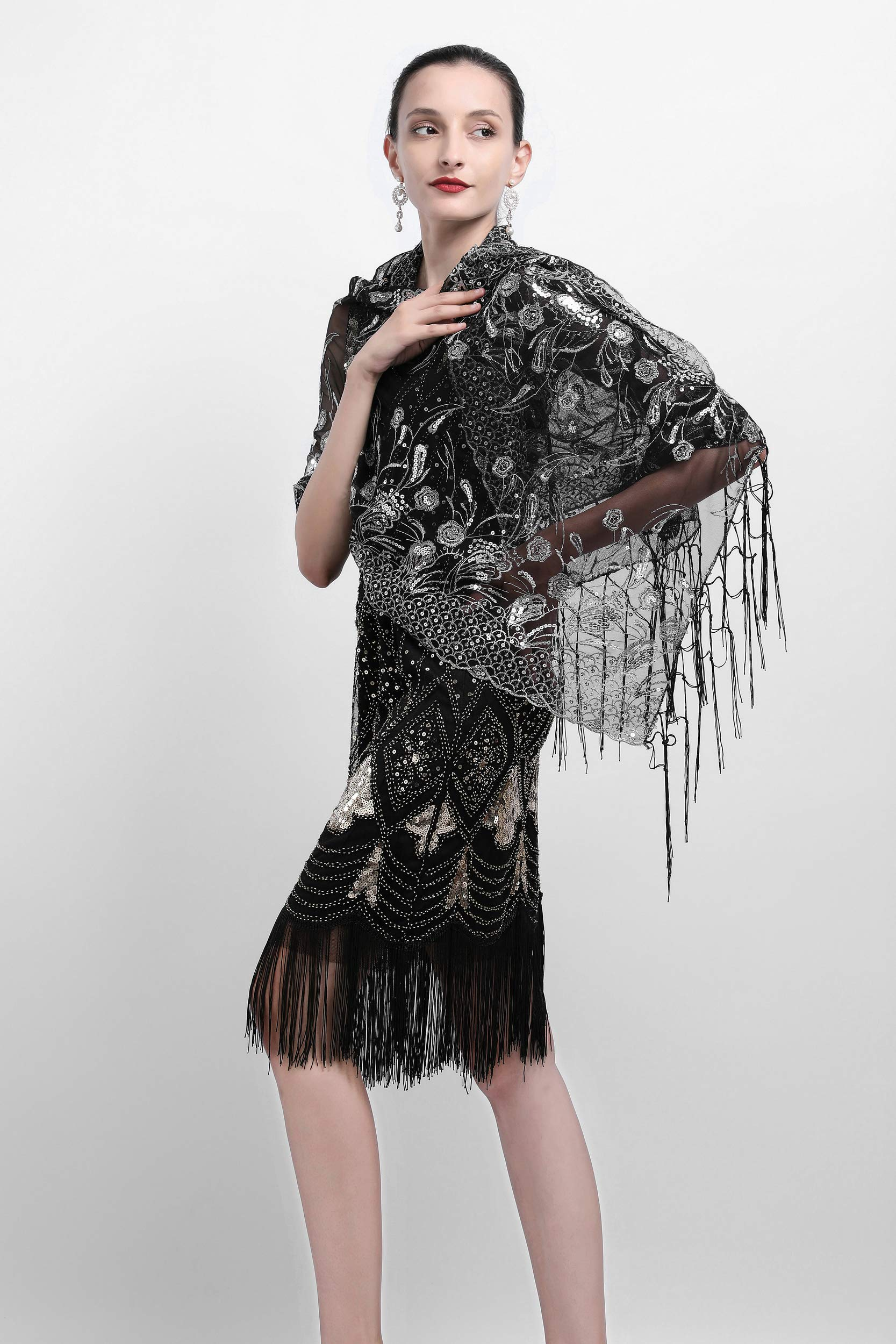 Zivyes 1920s Shawl Beaded Sequin Wraps Evening Cape Wedding Bridal Scarf Flapper Cover up by Zivyes (Image #3)