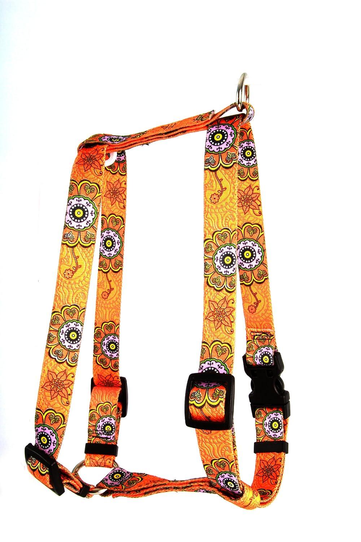 Medium Yellow Dog Design Roman Harness, Small Medium, Folk Flowers
