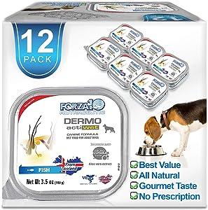 Forza10 Actiwet Dermo Wet Dog Food, Omega 3 Canned Dog Food Sensitive Skin Health, Dry Skin Fur Loss, 3.5 oz, Fish Flavor, Adult Dogs, 12 Case