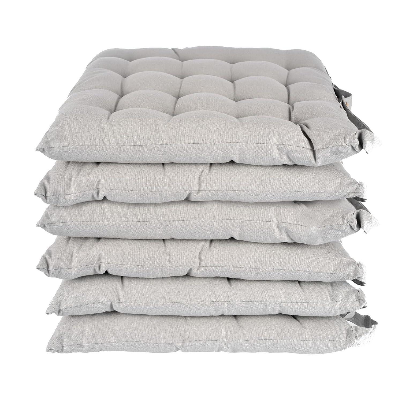 Homescapes Stuhlkissen 40x40 cm 6er Set grau Stuhlauflage mit Bändern und Knopfverschluss Bezug 100% Baumwolle mit Polyester Füllung