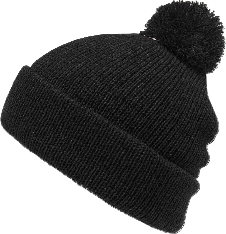 8ed98625f1f Amazon.com  KBW-30 BLK Solid POM POM Beanie Skull Cap Hat  Clothing