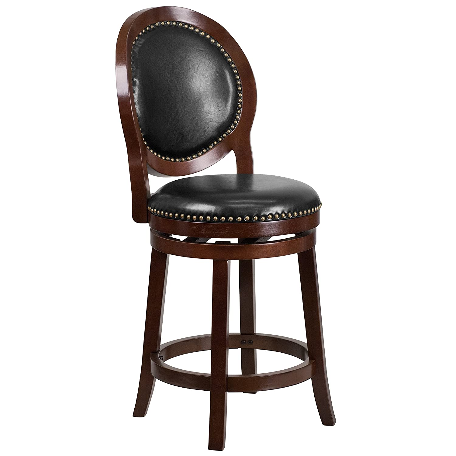 Flash Furniture 26'' High Cappuccino Counter Height Wood Stool with Oval Back and Black Leather Swivel Seat