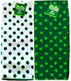 St. Patrick's Day Shamrock Towels Set of 2 Green and White