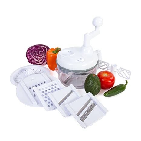 Kitchen Plus 3000 Food Chopper - 8 in 1 Manual Food Processor Chop, Blend,  Whip, Mix, Slice, Shred, Julienne, and Juice - As Seen on TV