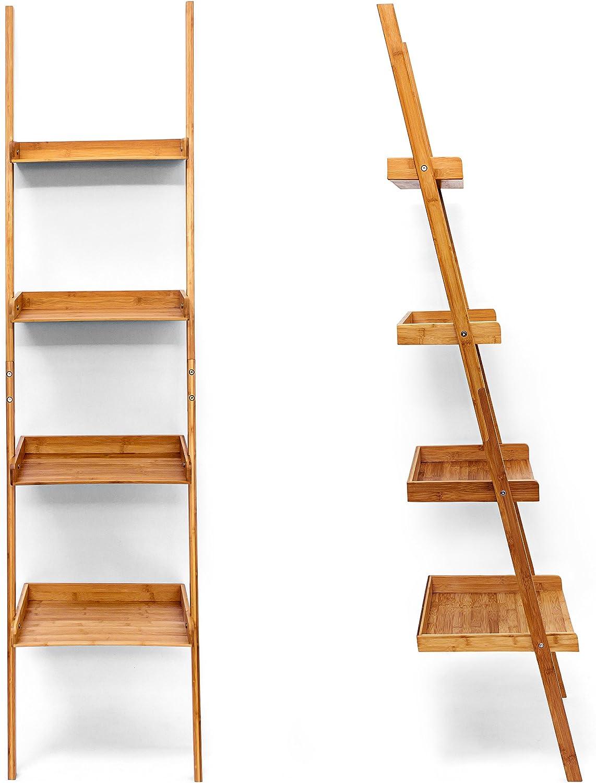 Relaxdays – Estantería Estilo Escalera de bambú, 4 estantes: 176 x 44 x 37 cm, para salón, Cuarto de baño, Almacenamiento, Sala de Estar, Cocina, decoración, Oficina, Naturaleza: Amazon.es: Hogar