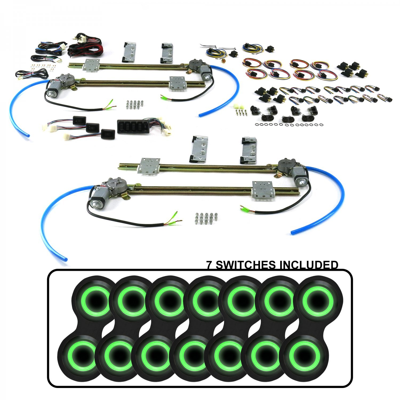 AutoLoc Power Accessories 18682 4-Door Flat Glass Power Window Kit with 7 ABB22 - Retro Black Switches Green Illumination