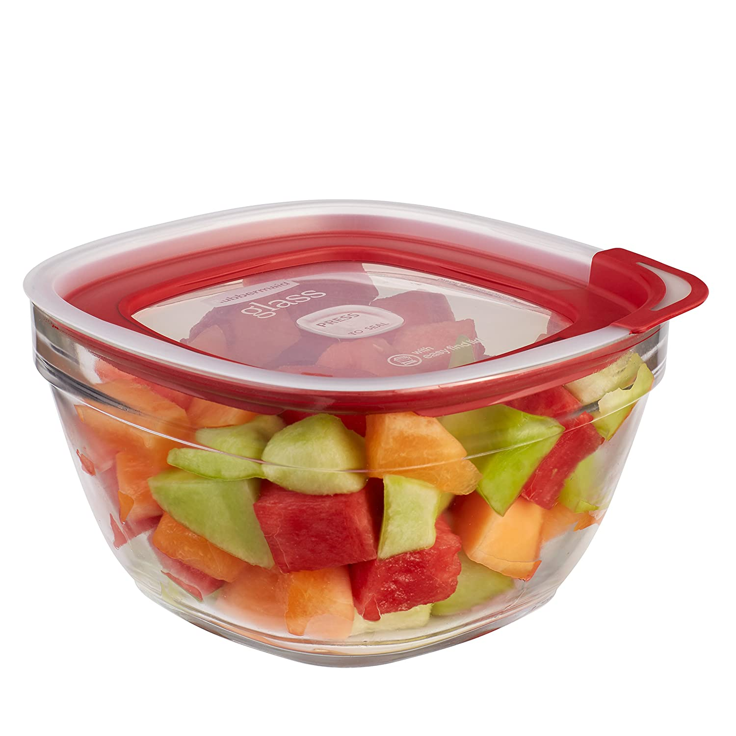 Rubbermaid Easy Find Lids Glass Food Storage Container, 11.5 Cup, Racer Red 2856007