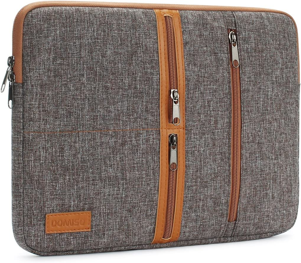 "DOMISO 11 Inch Laptop Sleeve Canvas Notebook Tablet Pouch Cover 3 Layer Protection Bag 2 Pockets Case for 11.6"" MacBook Air / 12.3"" Microsoft Surface Pro 4, Brown"