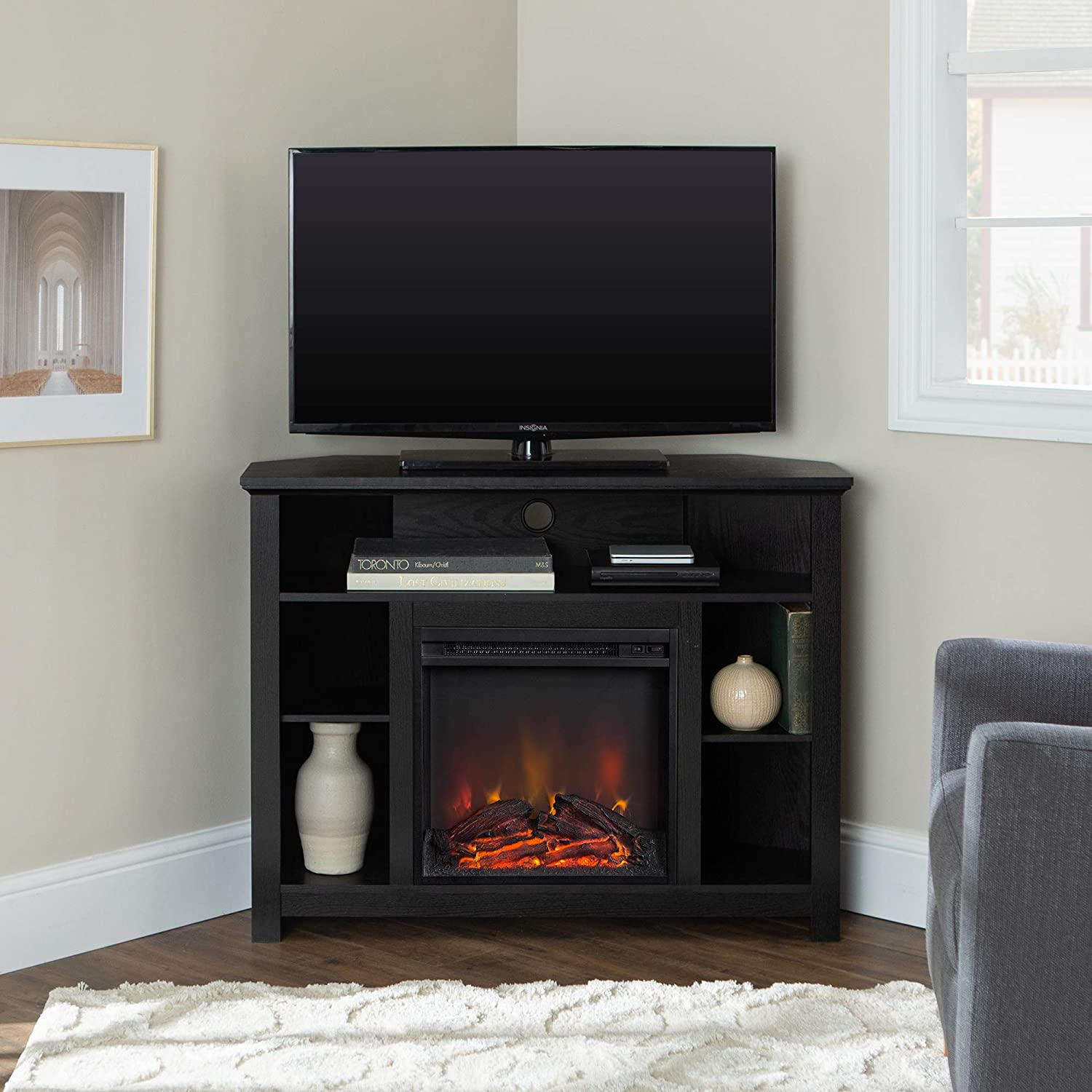WE Furniture 44-inch Wood Corner Fireplace TV Stand - Black