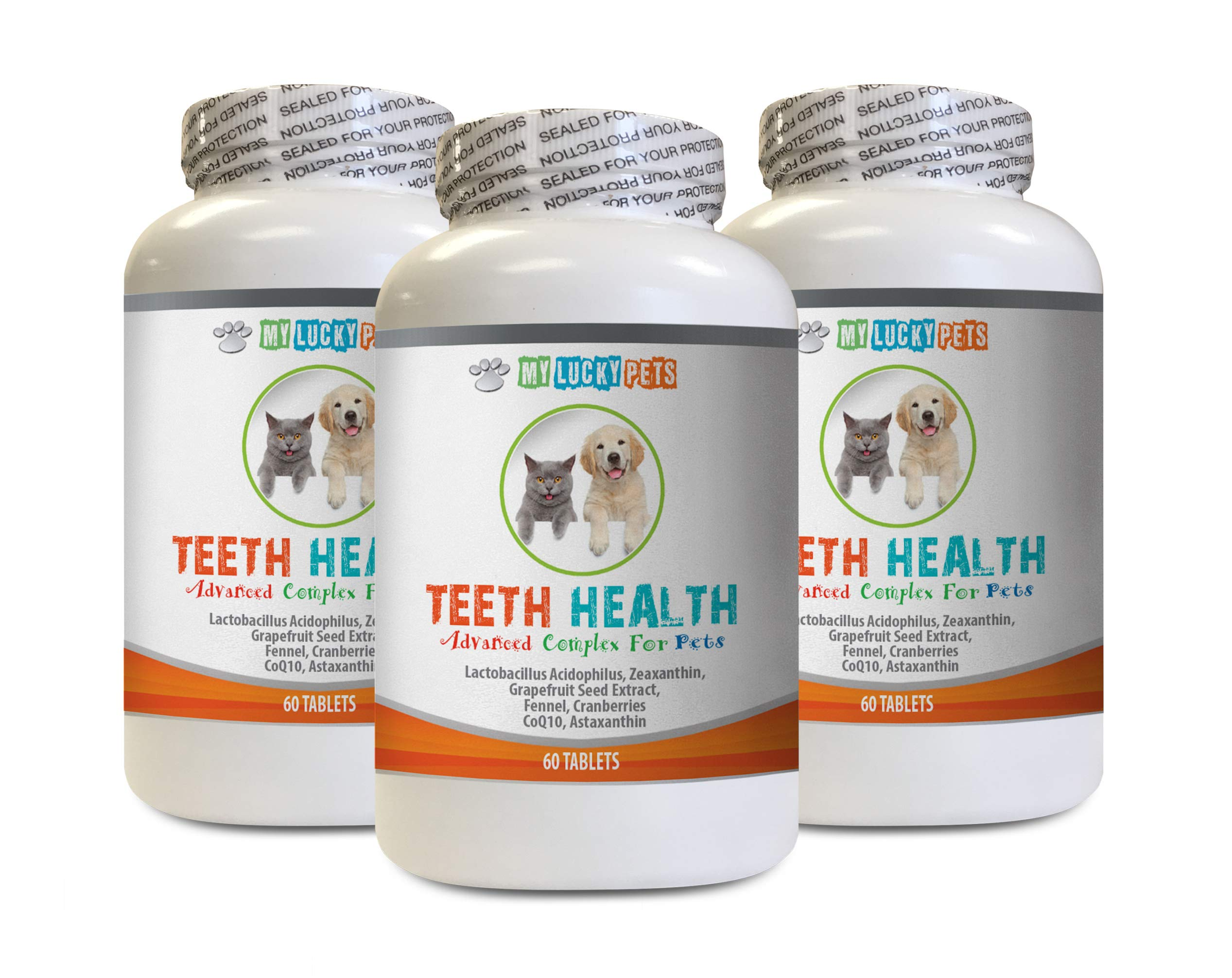 MY LUCKY PETS LLC cat Breathe Treats - PET Teeth Health AID - Dogs and Cats - Immune Boost - Gum and Oral Care - Vitamin c for Cats - 3 Bottles (180 Tablets)