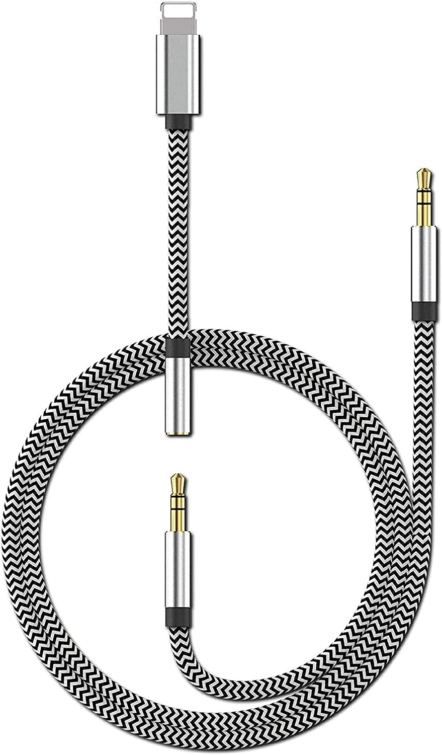Aux Cord for iPhone,[Apple MFi Certified] 3 in 1 Lightning to 3.5mm Headphone Jack Adapter + Nylon Braided Male Aux Cable for iPhone 11/XS/XR/X/8/7 to Car Stereo/Speaker/Headphone - (3.3FT/Silver)