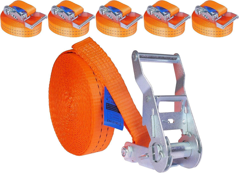 Industrie Planet 5 Stück 2000kg 6m Spanngurte Mit Ratsche Orange 1 Teilig Einteilig Zurrgurte Ratschengurt 35mm 2000 Dan 2t Auto