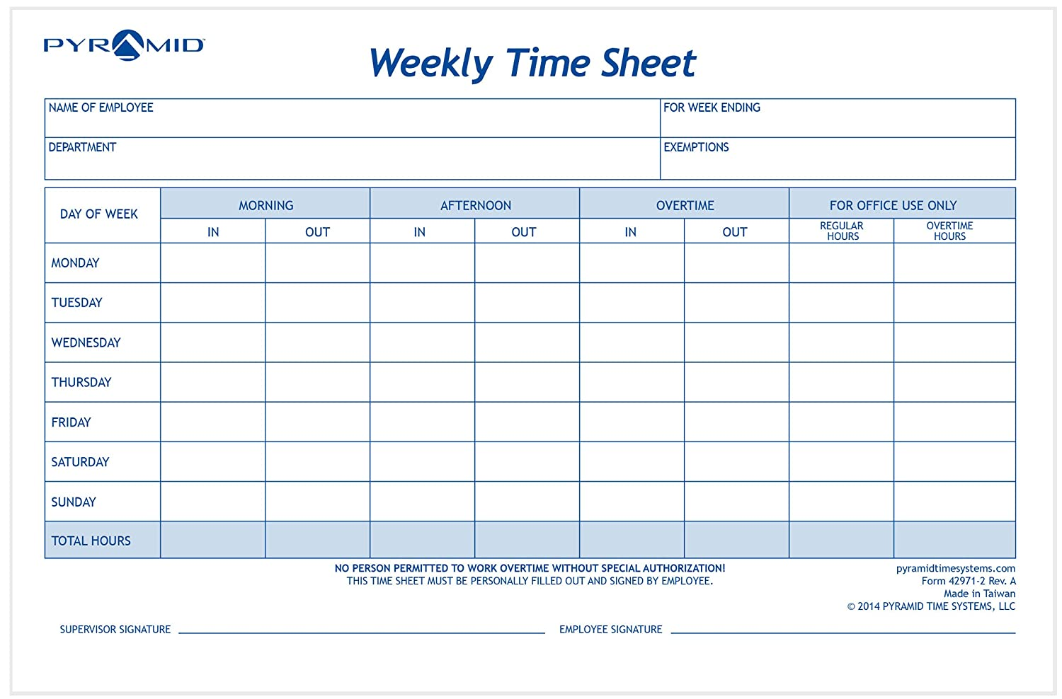 Pyramid Weekly Time Sheet Pads, 2/Pk (42971-2)