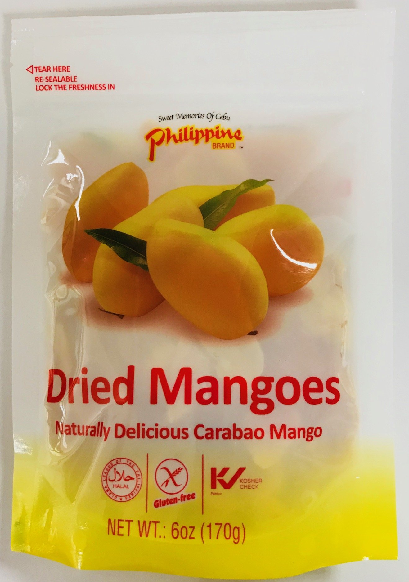 Philippine Brand Dried Mango, 6-Ounce Pouches (Pack of 8)