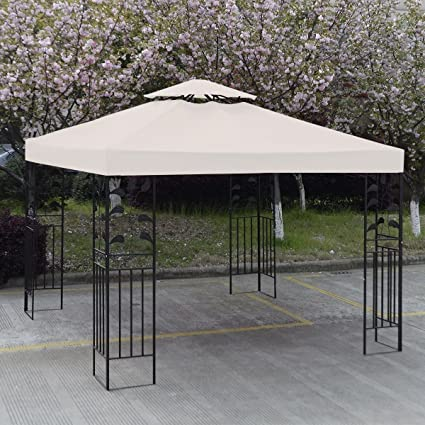 Amazon.com GH 10u0027 X 10u0027 Gazebo Replacement Canopy Top Cover - Beige Double-teir Garden u0026 Outdoor : outdoor gazebo canopy - afamca.org