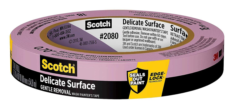 "Scotch Painter's Tape 2080-18A Delicate Surface Painters Tape, 0.70"" Width, Purple"