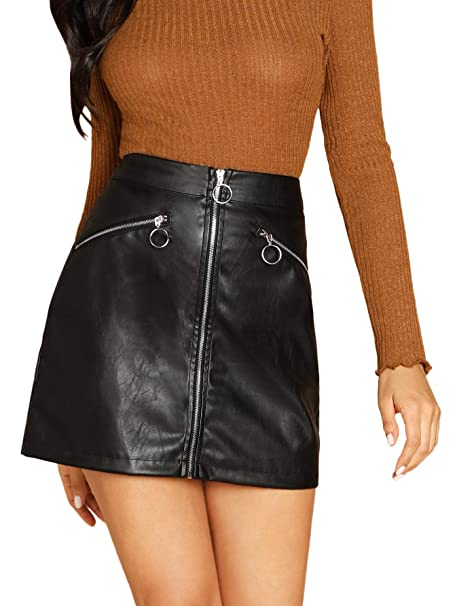 2600b41e0a SheIn Women's Faux Leather O-Ring Zipper Front Bodycon PU A Line Mini Skirt  X