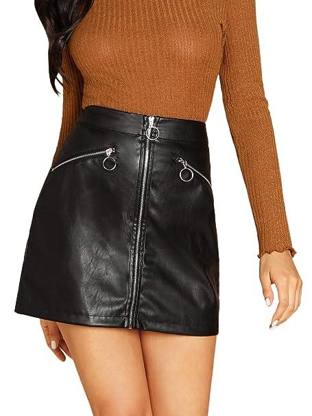 4a6fba99c SheIn Women's Faux Leather O-Ring Zipper Front Bodycon PU A Line Mini Skirt  X
