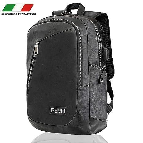 REVO Italia Mochila antirrobo Impermeable para Hombre y Mujer Trabajo Piel Negro Puerto PC 15.6 Puerto