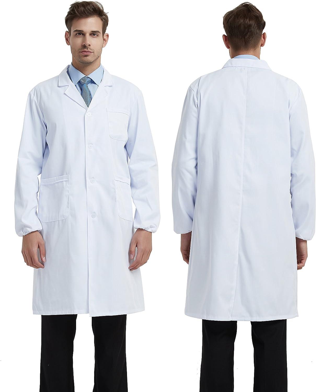 BSTT Uomo Camice da Laboratorio Bianca Abbigliamento da Lavoro e Divise Nuovo miglioramento